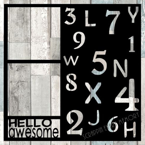 Hello Awesome Scrapbook Overlay