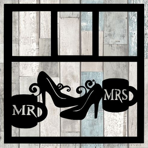 Mr Mrs Coffee Mugs Scrapbook Overlay