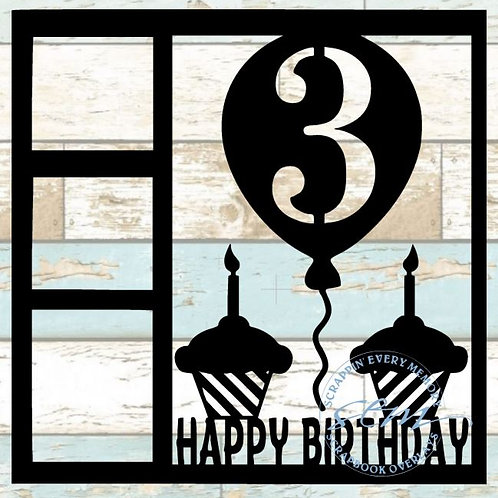 Happy Birthday 3 Scrapbook Overlay