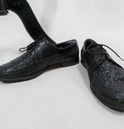 Zwart lederen gevlochten schoenen