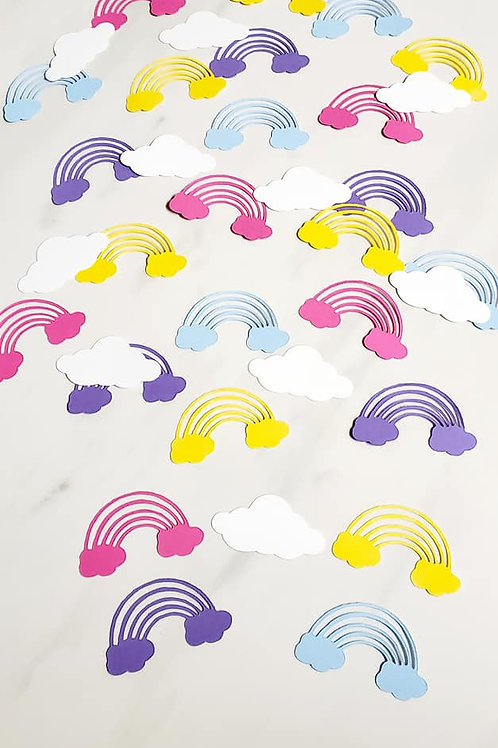 Rainbows and Clouds Scrapbook Page Confetti
