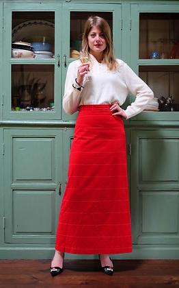 Bright red velvet skirt