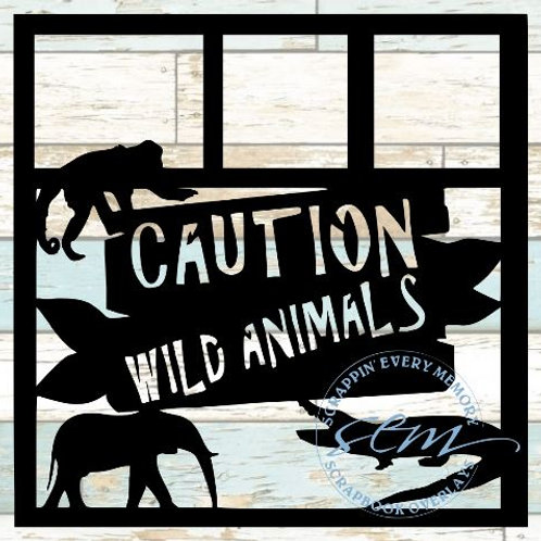 Caution Wild Animals Scrapbook Overlay