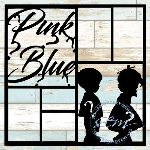 Pink Blue Scrapbook Overlay