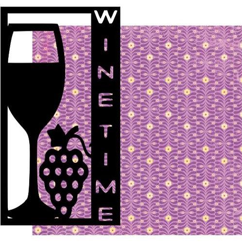 Wine Time Vertical Scrapbook Title