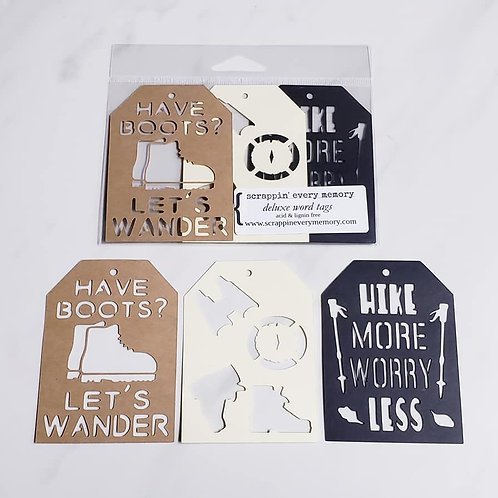 Hiking Deluxe Word Tags