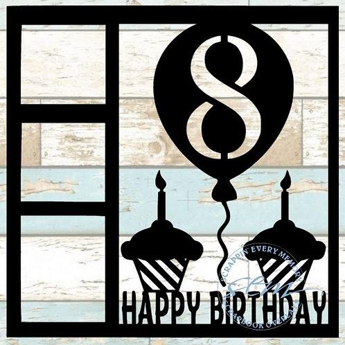 Happy Birthday 8 Scrapbook Overlay