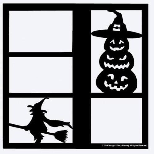 Witch & Pumpkins Scrapbook Overlay