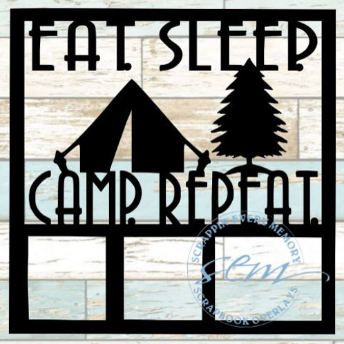 Eat Sleep Camp Repeat Scrapbook Overlay