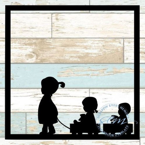 Girl Pulling Children Scrapbook Overlay