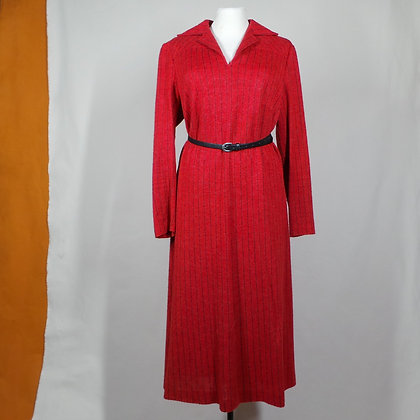 Rood gestreepte jurk met mohair L