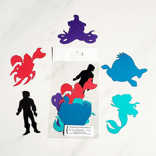 Little Mermaid Theme Die Cut Silhouette Mini Set