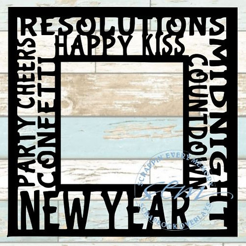 New Year Tag Text Scrapbook Overlay