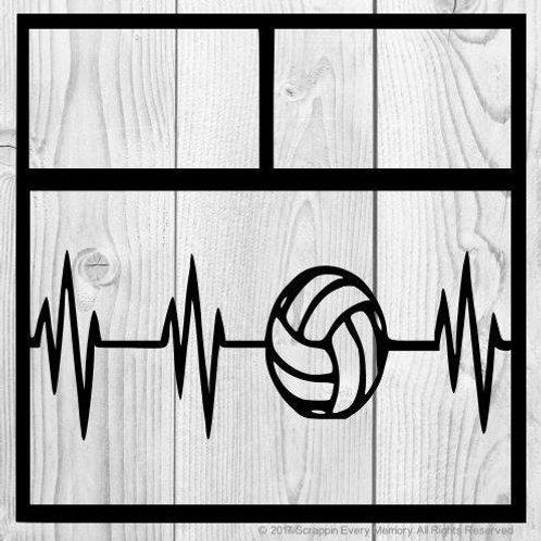 Volleyball Heartbeat Scrapbook Overlay