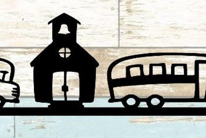 School & School Bus Scrapbook Border