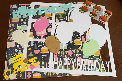 Happy Birthday Scrapbook Page Kits