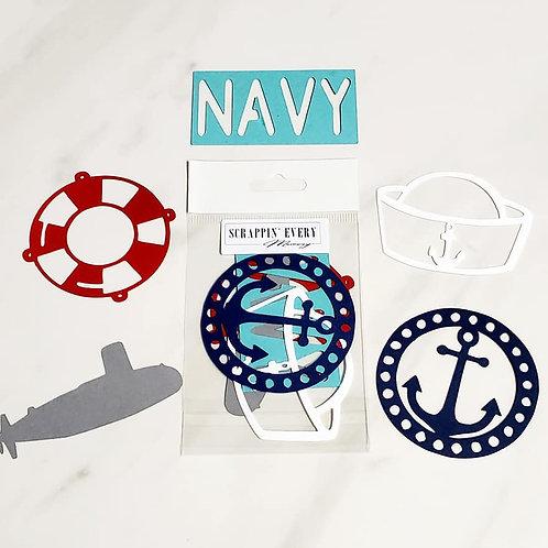 Navy Die Cut Silhouette Mini Set