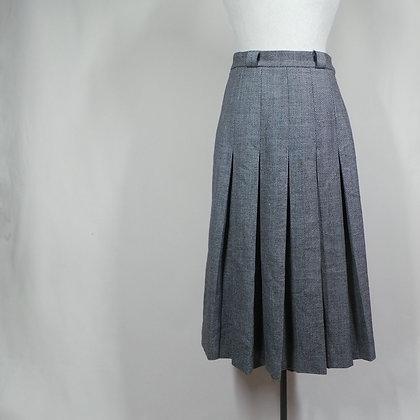 Rok plooi grijs herringsbone 50's/60's XS wol