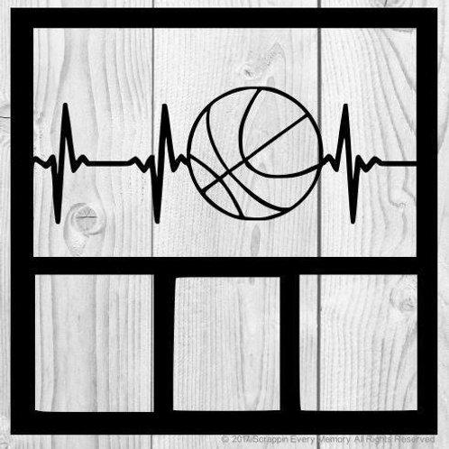 Basketball Heartbeat Scrapbook Overlay