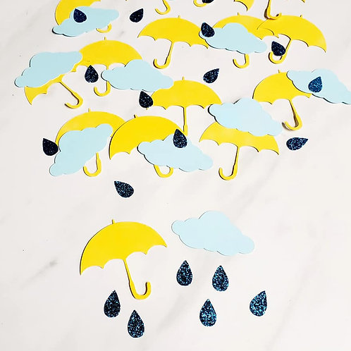 Umbrellas and Clouds Scrapbook Page Confetti