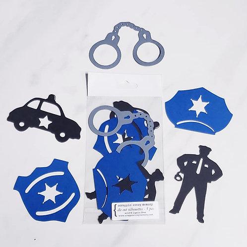 Police Die Cut Silhouette Mini Set