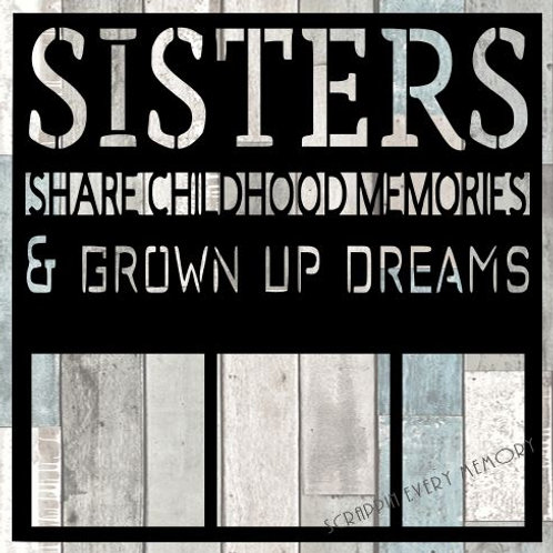 Sisters Share Childhood Memories Scrapbook Overlay