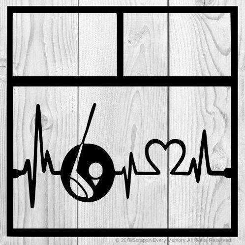 Golfing Heartbeat Scrapbook Overlay