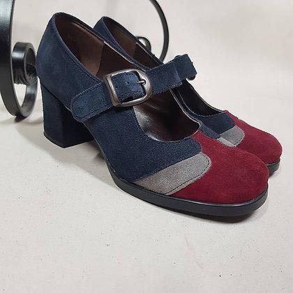 Pumps blauw/grijs/rood orginal sixties maat 37