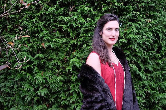 Rode cocktail jurk 100% silk