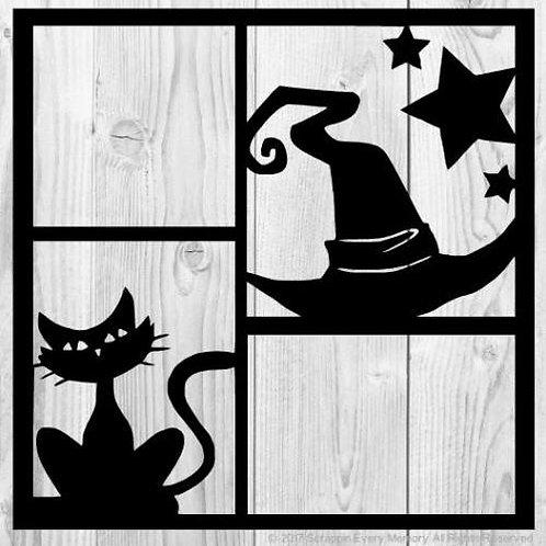 Witch Hat & Black Cat Scrapbook Overlay