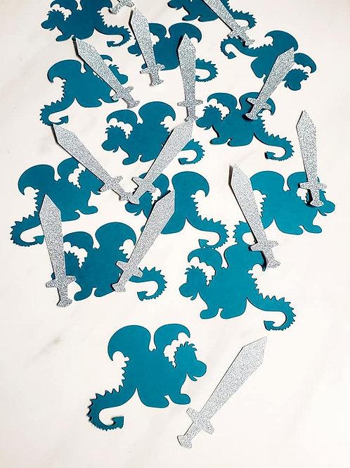 Dragon and Swords Scrapbook Page Confetti