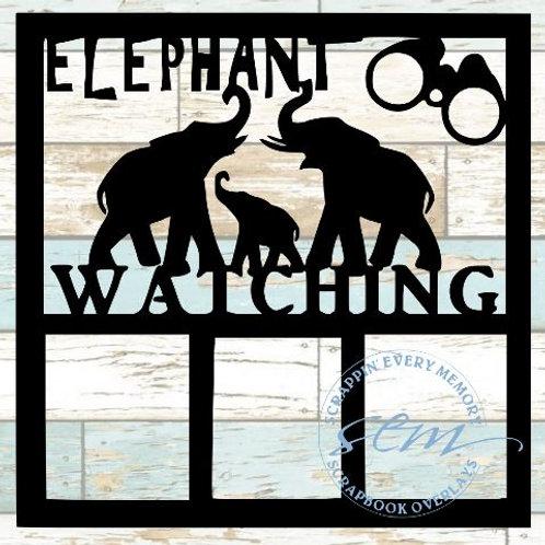 Elephant Watching Scrapbook Overlay