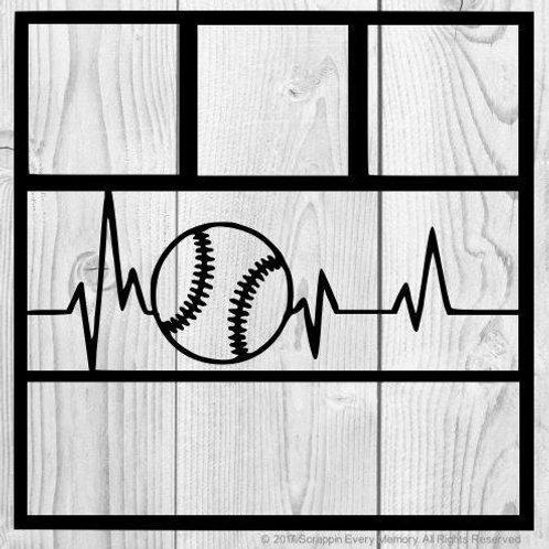 Baseball Heartbeat Scrapbook Overlay