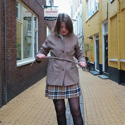Korte tweed jas wol bruin/beige 70's S
