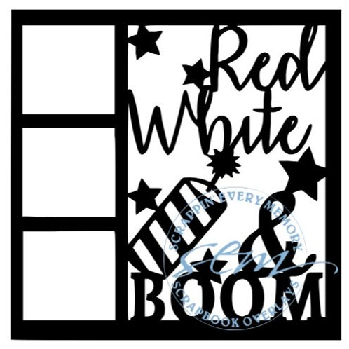 Red White And Boom Scrapbook Overlay