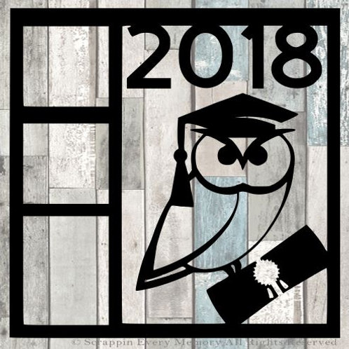 2018 Owl Graduate Scrapbook Overlay