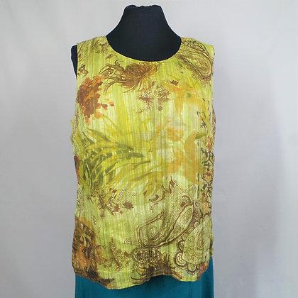 Top gebloemd geel / groen L / XL linnen en zijde