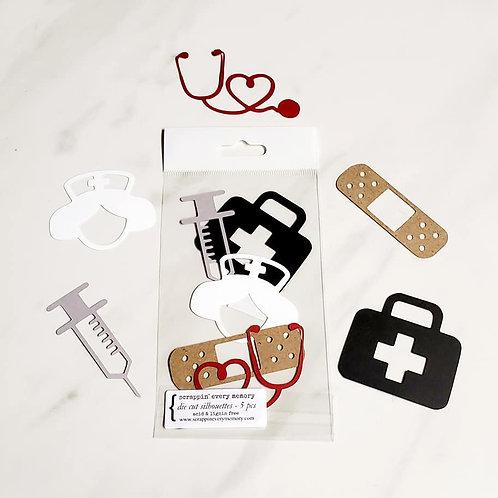 Nurse Theme Die Cut Silhouette Mini Set