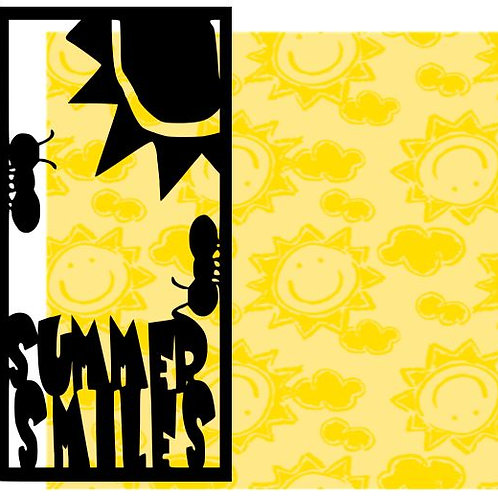 Summer Smiles Vertical Scrapbook Title