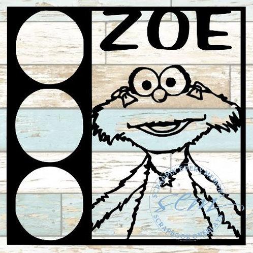 Zoe Sesame Street Scrapbook Overlay
