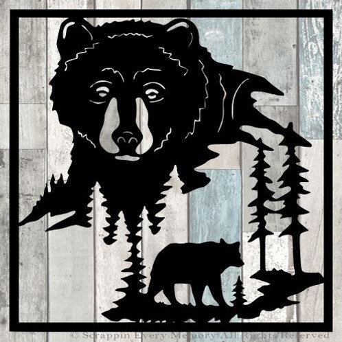 Bear Scene Scrapbook Overlay