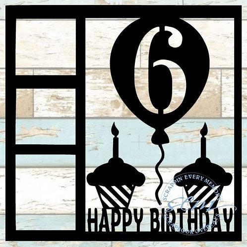 Happy Birthday 6 Scrapbook Overlay
