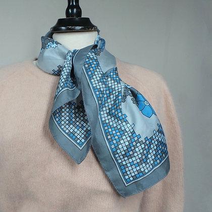 Sjaaltje blauw/grijs/beige geblokt