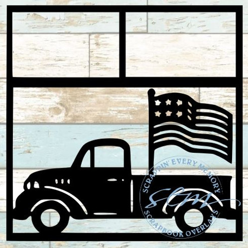 American Flag Truck Scrapbook Overlay