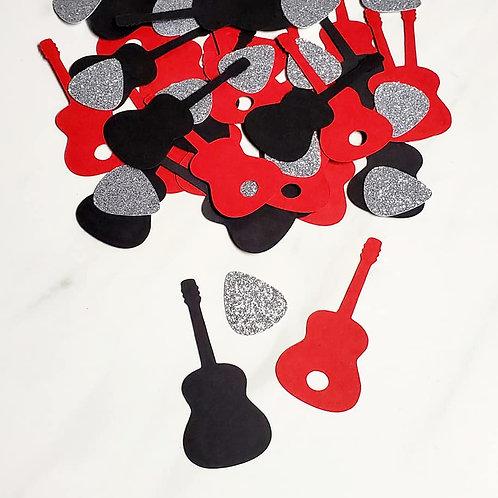 Guitars and Picks Scrapbook Page Confetti