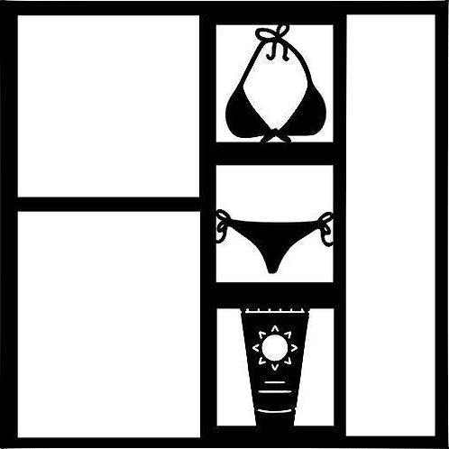 Bikini & Suntan Lotion Scrapbook Overlay
