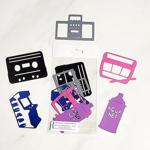 80's Theme Die Cut Silhouette Mini Set