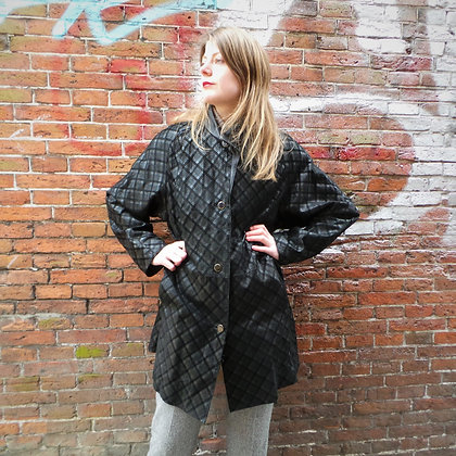 Zwarte leren jas gevoerd 80's S / L