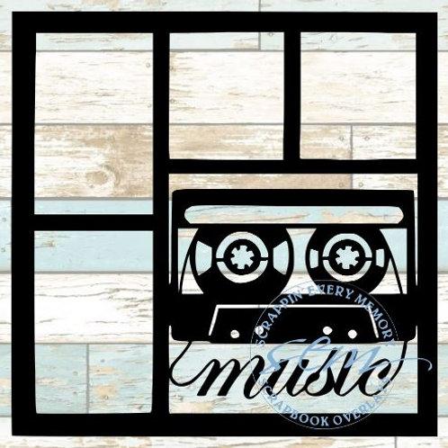 Cassette Tape Music Scrapbook Overlay