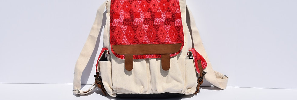 Huipil Bookbag: Red & White Canvas